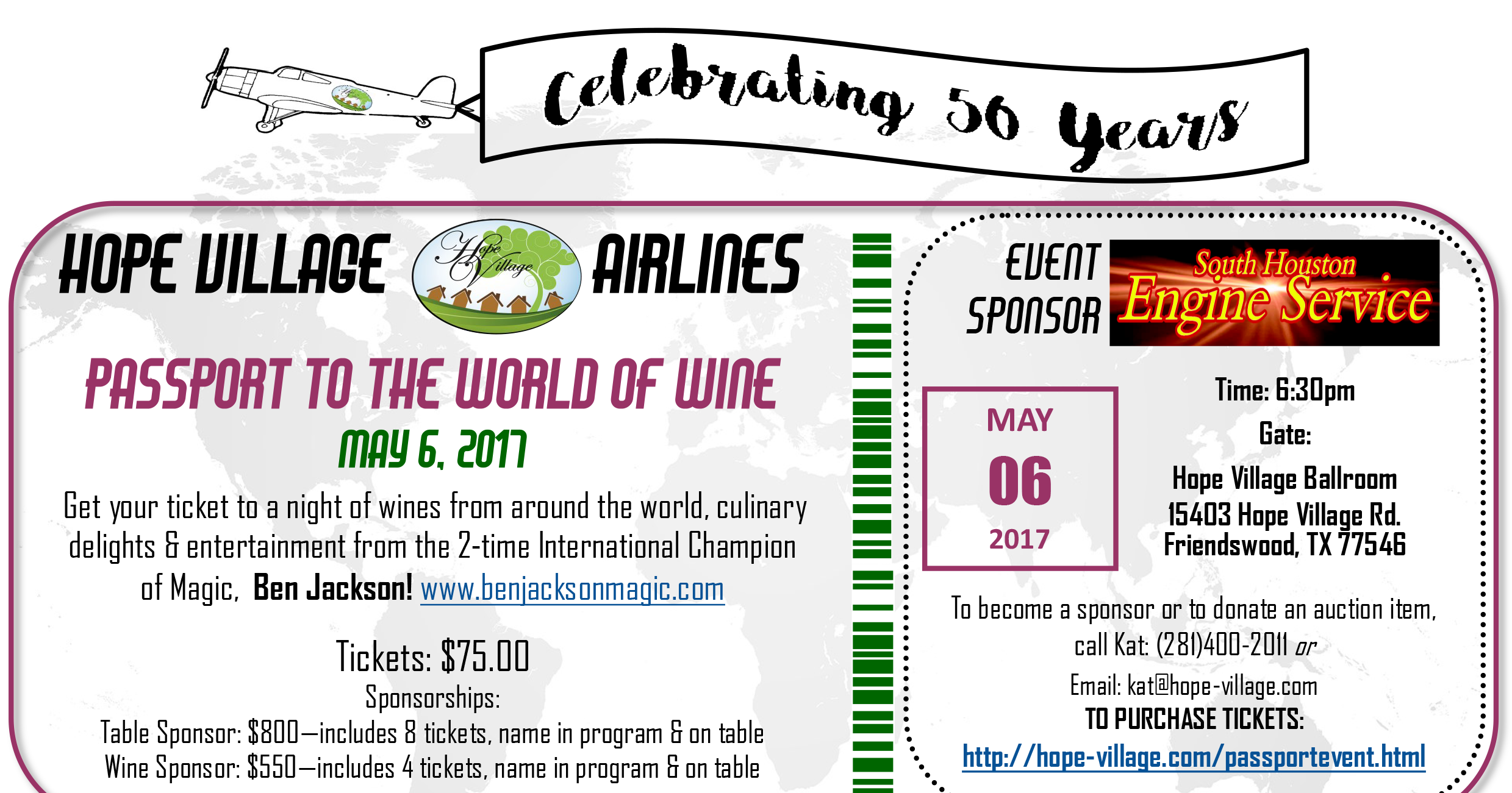 Passport to the World of Wine - Benefitting Hope Village Event options